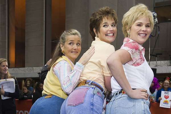 """Meredith Vieira, from left, Savannah Guthrie and Jenna Bush Hager dress in """"mom jeans"""" during a """"Saturday Night Live"""" themed Halloween episode of NBC's """"Today"""" show on Friday, Oct. 31, 2014, in New York."""