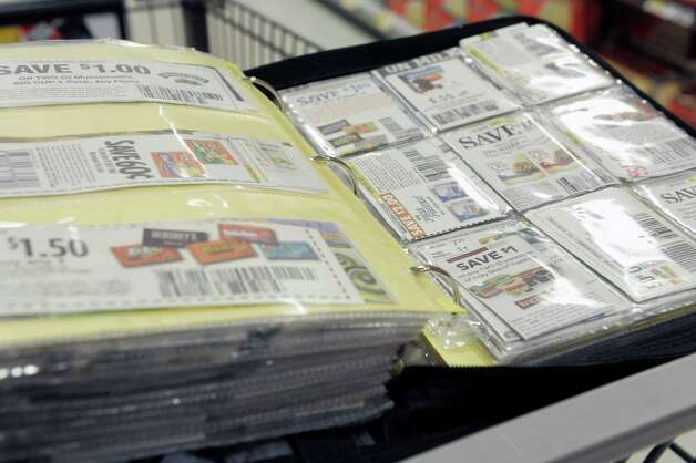 A view of Priscila Melendez's coupon binder seen here at the ShopRite on Tuesday, Oct. 28, 2014, in Niskyuna, N.Y.  (Paul Buckowski / Times Union) Photo: Paul Buckowski / 00029144A