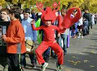 Fourth grader Michael McLain as a lobster during the annual Division Street Elementary School Halloween parade Friday Oct. 31, 2014, in Saratoga Springs, NY.  (John Carl D'Annibale / Times Union)