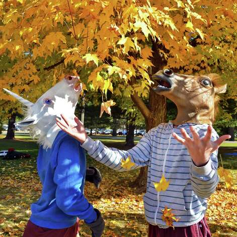 Greenville Central School students Christopher Picket, 15, in Unicorn mask, left, and Jaymey Kuykendall, 17, in horse head mask check out the fall foliage during Friday's Section II Cross Country Championships at Saratoga Spa State Park Oct. 31, 2014, in Saratoga Springs, NY.  (John Carl D'Annibale / Times Union) Photo: John Carl D'Annibale
