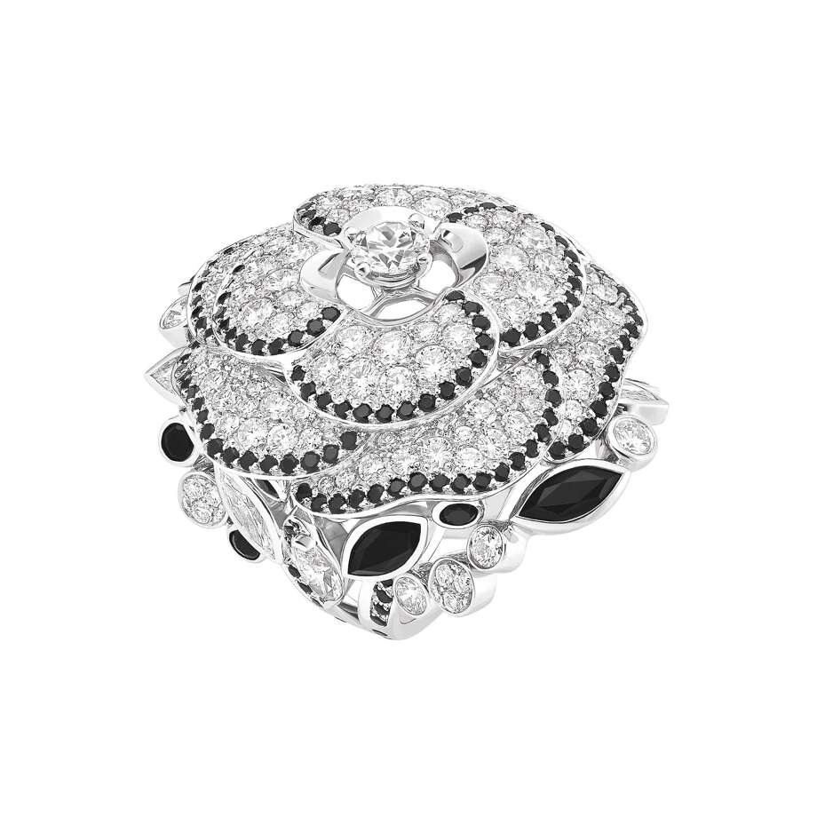 "STYLE:  The ""Camélia Gansé"" ring in 18-karat white gold set with 139 brilliant-cut diamonds from the CHANEL Fine Jewelry collection. Chanel Paris is bringing their High Jewelry collection to be shown at Neiman Marcus from Oct. 29 to Nov. 8 (excluding Sunday, November 2). Photo: CHANEL Paris / ONLINE_YES"