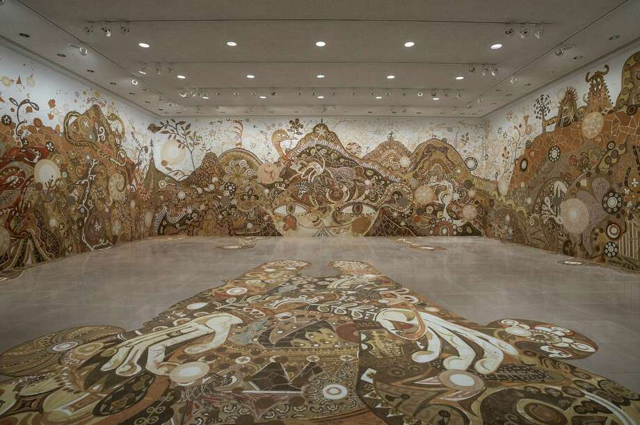 "Yusuke Asai's mural ""Yamatane"" is on view at Rice Gallery through Nov. 23. Photo: Nash Baker"