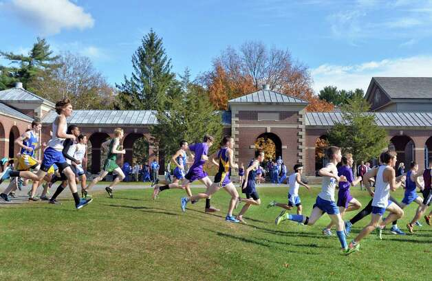 Runners begin to spread out during the Class D Section II Cross Country Championships at Saratoga Spa State Park Friday Oct. 31, 2014, in Saratoga Springs, NY.  (John Carl D'Annibale / Times Union) Photo: John Carl D'Annibale / 00029251A