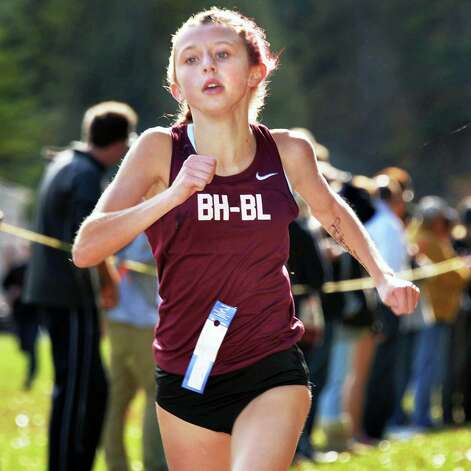 Burnt Hill's Emily Digman finishes first in the girl's Class B Section II Cross Country Championships at Saratoga Spa State Park Friday Oct. 31, 2014, in Saratoga Springs, NY.  (John Carl D'Annibale / Times Union) Photo: John Carl D'Annibale / 00029251A