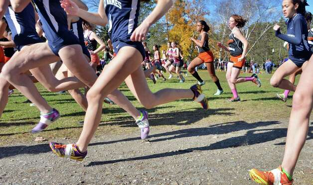 Start of the girl's Class B Section II Cross Country Championships at Saratoga Spa State Park Friday Oct. 31, 2014, in Saratoga Springs, NY.  (John Carl D'Annibale / Times Union) Photo: John Carl D'Annibale / 00029251A