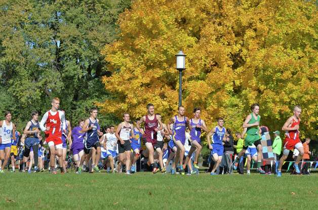 Runners at the start of the Class D Section II Cross Country Championship at Saratoga Spa State Park Friday Oct. 31, 2014, in Saratoga Springs, NY.  (John Carl D'Annibale / Times Union) Photo: John Carl D'Annibale / 00029251A