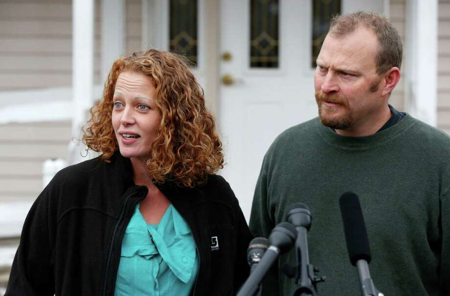 "Kaci Hickox, with boyfriend Ted Wilbur, called it ""a good day"" as a judge ruled in her favor and lifted the quarantine imposed by Maine's governor.  Photo: Robert F. Bukaty, STF / AP"