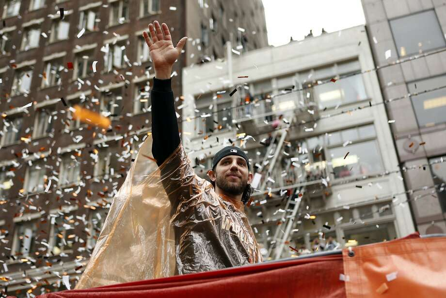 San Francisco Giants' Madison Bumgarner during World Series Parade on Market Street in San Francisco. on Friday, October 31, 2014. Photo: Scott Strazzante, The Chronicle