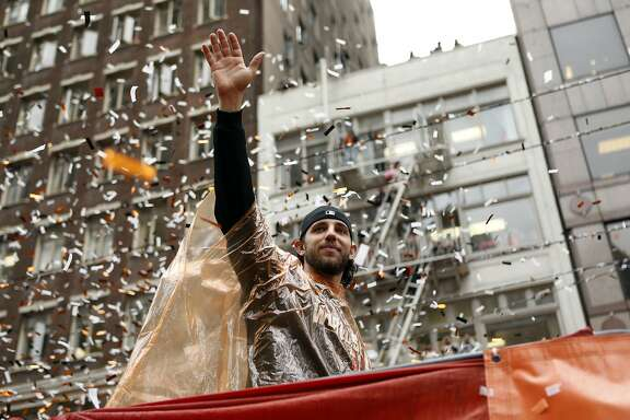 San Francisco Giants' Madison Bumgarner during World Series Parade on Market Street in San Francisco. on Friday, October 31, 2014.