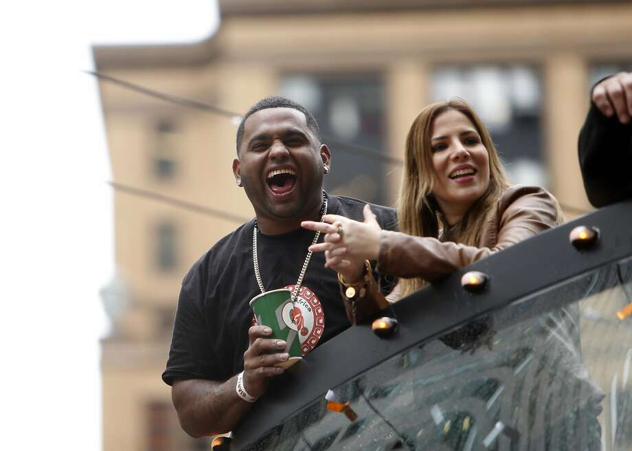 San Francisco Giants' Pablo Sandoval during World Series Parade on Market Street in San Francisco. on Friday, October 31, 2014. Photo: Scott Strazzante, The Chronicle