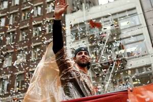 Madison Bumgarner, who won a pickup truck as World Series MVP, is a small town guy who appropriately rode on the back of flatbed truck down Market Street.