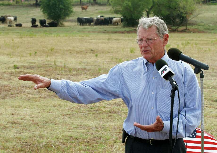 """Imagine Sen. James Inhofe, R-Okla., author of """"The Greatest Hoax: How the Global Warming Conspiracy Threatens Your Future,"""" as chairman of the Senate Environment Committee. Here, he speaks against the expansion of the Clean Water Act in 2012 to include wet areas on private land. Photo: Sue Ogrocki / Associated Press File Photo / AP"""