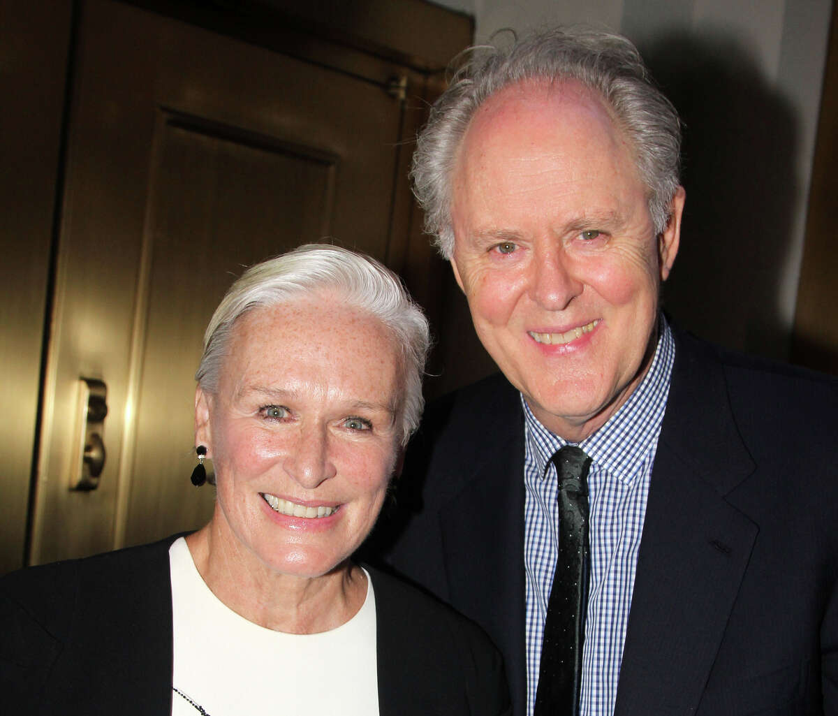 """Glenn Close and John Lithgow pose at the Opening Night of """"You Can't Take It With You"""" on Broadway at The Longacre Theatre on September 28, 2014 in New York City."""