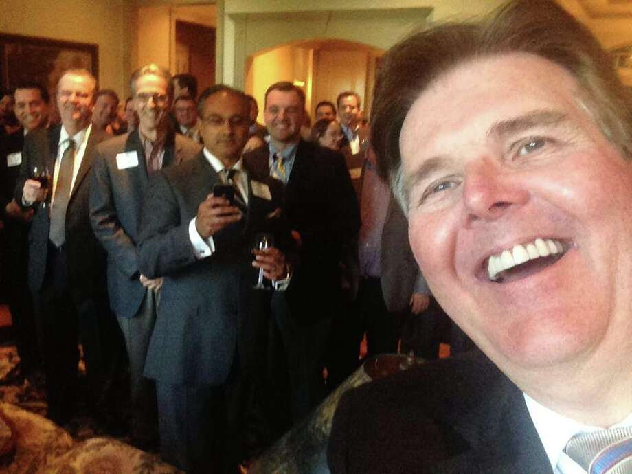 Here are a few of the selfies that state Sen. Dan Patrick, the GOP candidate for lieutenant governor, has taken at campaign events and has posted on Facebook. Photo: Photo Courtesy Of Dan Patrick / Photo courtesy of Dan Patrick