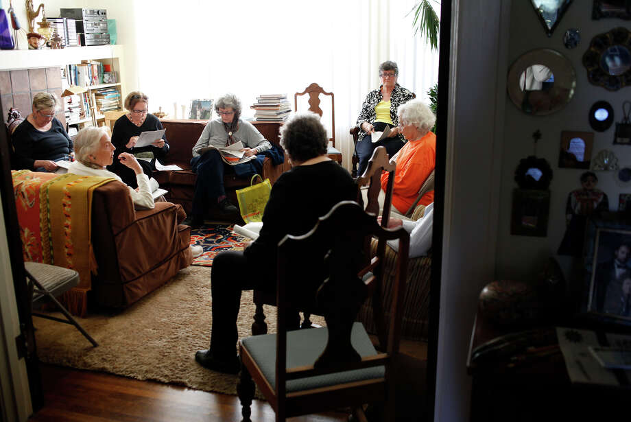 Friends meet at Muriel Kroll's Lake Street home to discuss ballot issues Kroll has hosted voter gatherings for 40 years. Photo: Sarah Rice / Special To The Chronicle / ONLINE_YES