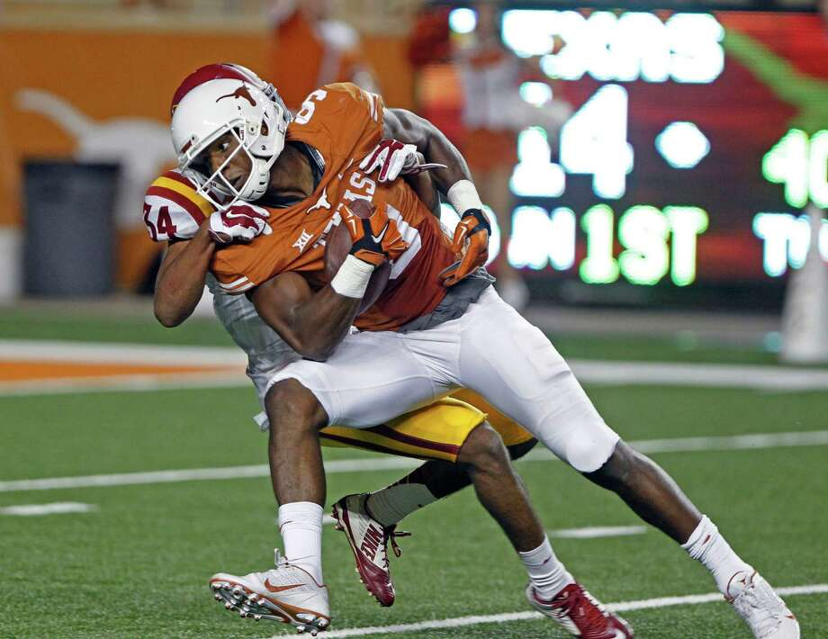 Texas receiver John Harris (9) during an NCAA college football game against Iowa State in Austin, Texas, Saturday, Oct. 18, 2014. (AP Photo/Michael Thomas) Photo: Michael Thomas, FRE / Associated Press / FR65778 AP