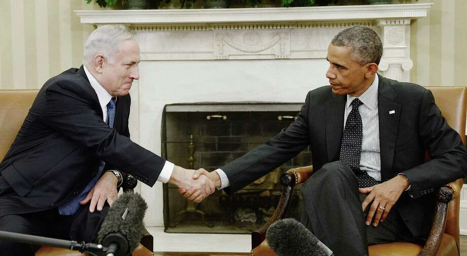 Touchy allies: President Barack Obama and  Israeli Prime Min-ister Benjamin Netanyahu meet Oct 1. An Israeli cartoon has upset some for a depiction of Netanyahhu in terrorist mode. Photo: Tribune News Service / Abaca Press