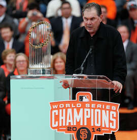 Giants manager Bruce Bochy speaks during the championship parade ceremony on Friday, October 31, 2014 in the Civic Center of San Francisco, Calif.