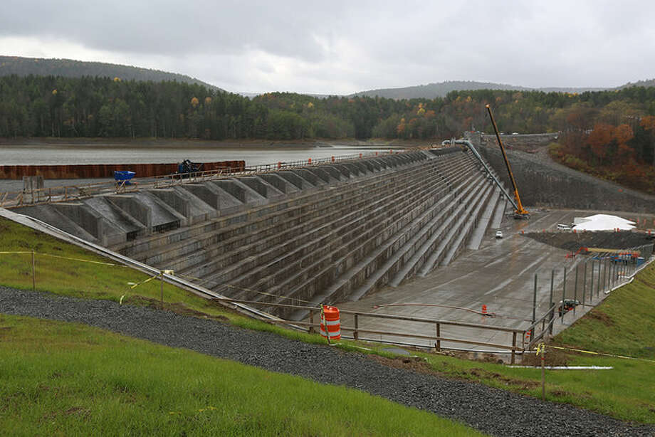 New York City officials on Friday unveiled the $138 million rebuilt Gilboa Dam at the 19.6-billion gallon Schoharie Reservoir. (Courtesy New York City Department of Environmental Protection)