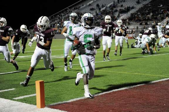 The end zone became a familiar destination for Brenham running back Earnest Patterson (5) on Friday night in Bulldog Stadium. He ran for four touchdowns, covering 3, 6, 10 and 11 yards.