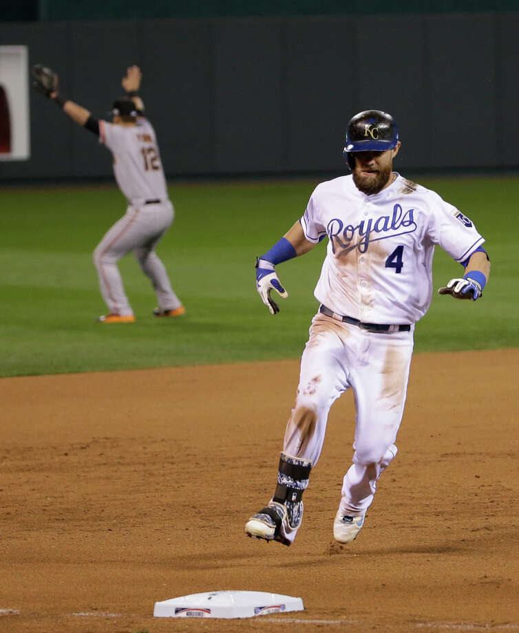Kansas City's Alex Gordon gets ready to round third with two outs in the ninth inning of Game 7 of the 2014 World Series. Gordon did not try to score, and the Giants won 3-2. Photo: Matt Slocum / Associated Press / AP