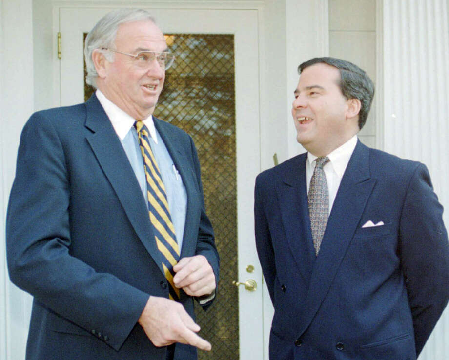 Governor elect John Rowland, right, meets with former Gov. Lowell Weicker Jr., in Hartford, Conn., Wednesday, Jan. 4, 1995. Weicker had previously defeated Rowland for Governor in 1990. Photo: Associated Press/Bob Child, File Photo / Associated Press