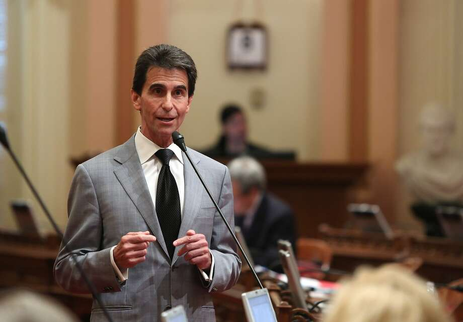 State Sen. Mark Leno, D-San Francisco, urges lawmakers to approve his measure requiring electronics manufacturers to install a shut-off function in all smartphones manufactured and sold after July 2015,  at the Capitol  in Sacramento, Calif., Thursday May 8, 2014.  The bill, SB962, which fell two votes short of passage when it was brought up two weeks ago, was approved by the Senate by a 26-8 vote. (AP Photo/Rich Pedroncelli) Photo: Rich Pedroncelli, Associated Press