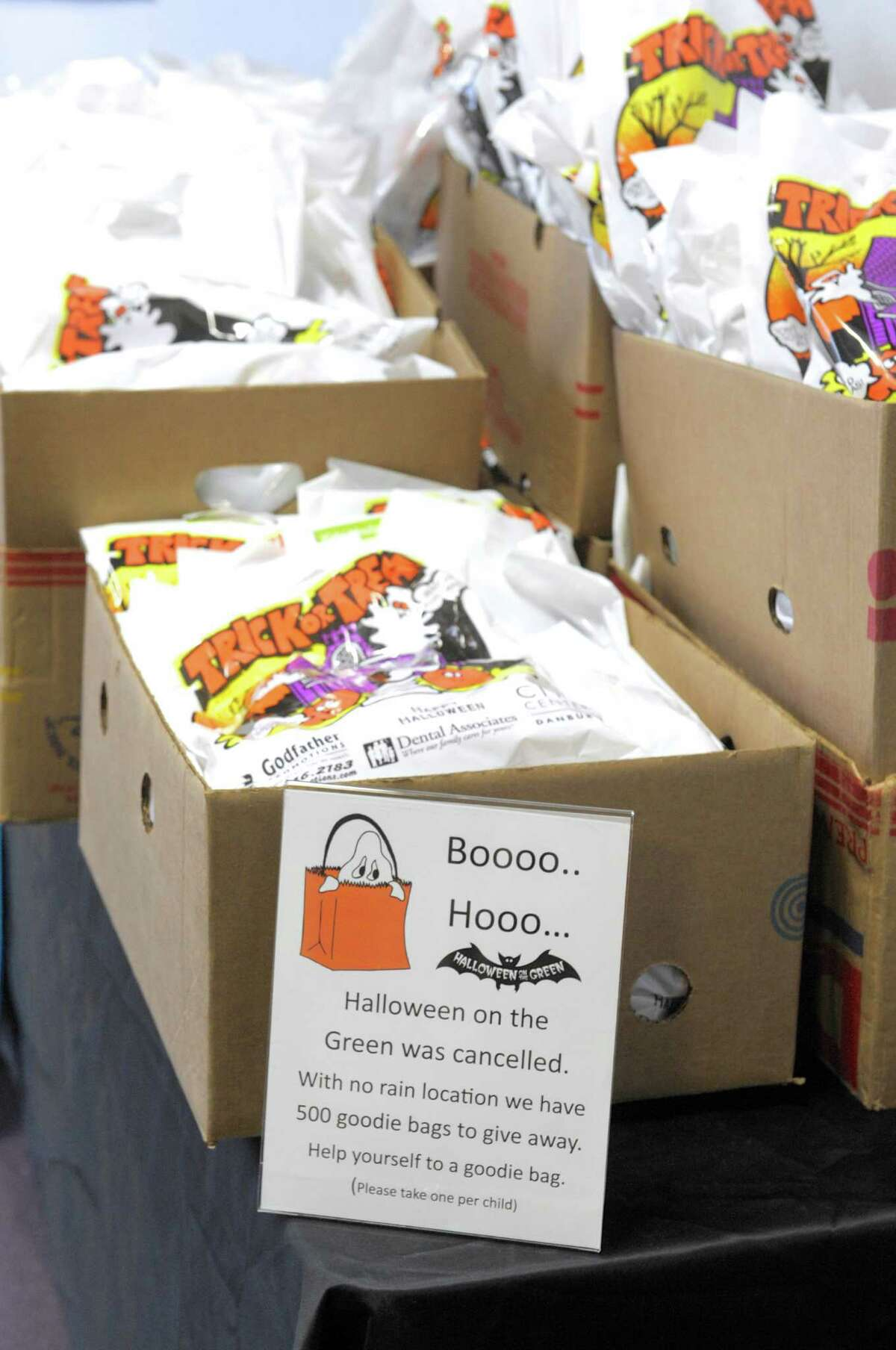 """CityCenter Danbury """"Halloween on the Green"""", scheduled for Saturday, was cancelled because of the weather. The goodie bags to be handed out were available to be pickup up in the Danbury Ice Arena, Danbury, Conn, on Saturday, November 1, 2014."""