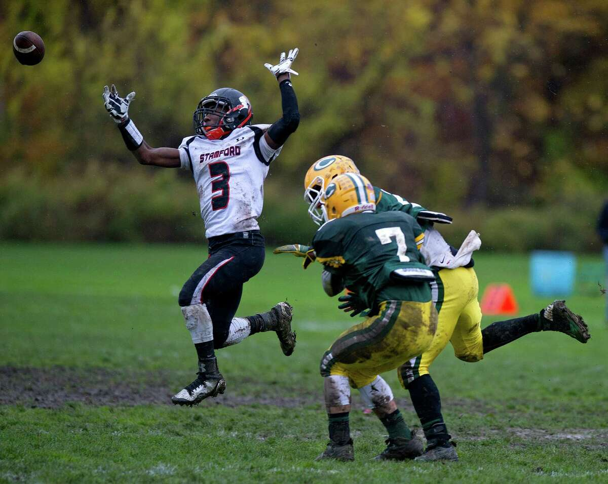 Stamford's Tyree Smith misses a pass during Saturday's football game at Trinity Catholic High School on November 1, 2014.