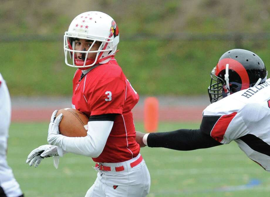 High school football game between Greenwich High School and Bridgeport Central High School at Greenwich, Conn., Saturday afternoon, Nov. 1, 2014. Photo: Bob Luckey / Greenwich Time