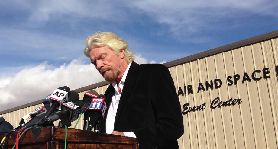 """Billionaire Virgin Galactic founder Richard Branson salutes the bravery of test pilots, and says he's """"determined to learn from this and move forward."""" Photo: Brian Melley / Associated Press / AP"""