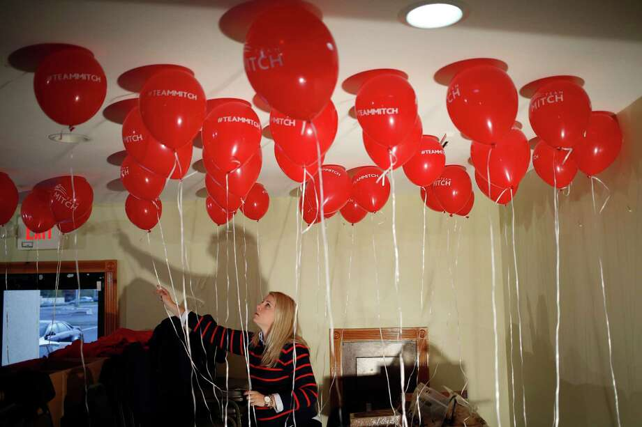 LOUISVILLE, KY - NOVEMBER 01:  McConnell campaign volunteer Kara Townsend of London, Ky. arranges balloons before a campaign event for Senate Minority Leader Mitch McConnell (R-KY) at the Best Western Airport Expo on November 1, 2014 in Louisville, Kentucky. The most recent Bluegrass Poll shows McConnell with a five point lead over Democratic challenger Alison Lundergan Grimes. (Photo by Luke Sharrett/Getty Images) *** BESTPIX *** ORG XMIT: 521209827 Photo: Luke Sharrett / 2014 Getty Images