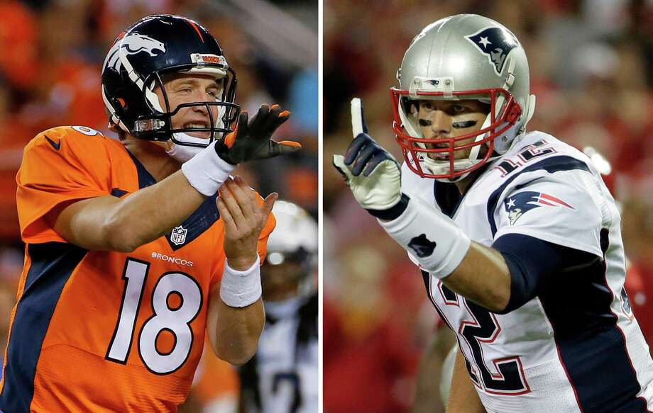 FILE - At left, in an Oct. 23, 2014, file photo, Denver Broncos quarterback Peyton Manning calls a play against the San Diego Chargers during the first half of an NFL football game in Denver. At right, in a Sept. 29, 2014, file photo, New England Patriots quarterback Tom Brady points on the line of scrimmage during the first quarter of an NFL football game against the Kansas City Chiefs in Kansas City, Mo. New England has little time to savor its fourth straight win, a 51-23 pounding of the Chicago Bears. The Patriots must get ready to host Peyton Manning and the Denver Broncos next Sunday in the first of five straight games against top teams.(AP Photo/File) ORG XMIT: NY159 / AP