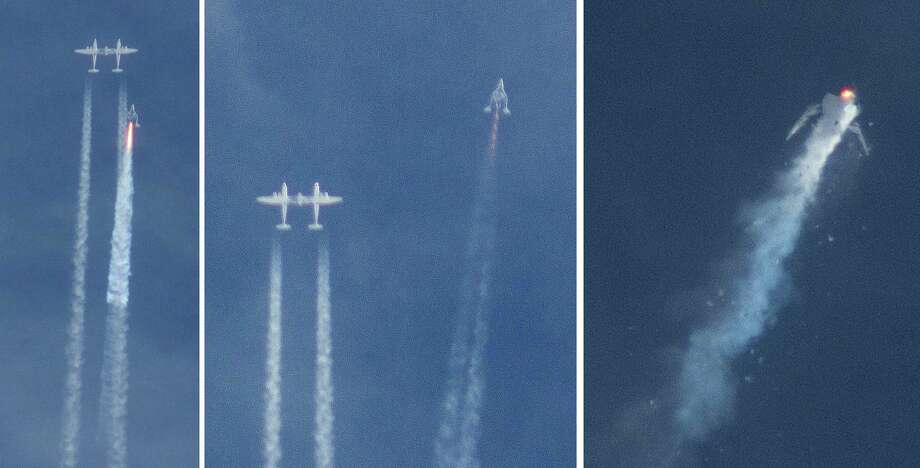 The Virgin Galactic SpaceShipTwo rocket separated from the carrier aircraft, left, before exploding in the air, right, during a test flight Friday. One pilot was killed and another wounded. Photo: Kenneth Brown, FRE / ap