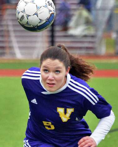 Voorheesville's #5 Sarah Murray heads the ball during their Section II Class B girls' soccer final against Catholic Central at Lansingburgh High School Saturday Nov. 1, 2014, in Troy, NY.  (John Carl D'Annibale / Times Union) Photo: John Carl D'Annibale / 00029265A
