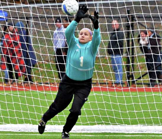Voorheesville goalie Jordan Pettograsso makes a save during their Section II Class B girls' soccer final against Catholic Central at Lansingburgh High School Saturday Nov. 1, 2014, in Troy, NY.  (John Carl D'Annibale / Times Union) Photo: John Carl D'Annibale / 00029265A