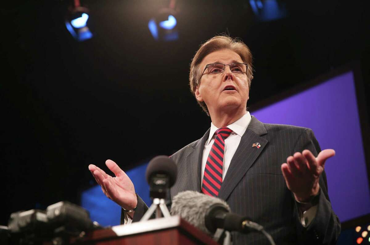 Lieutenant governor candidate Dan Patrick answers questions at a Q&A session after a debate on Monday, Sept. 29, 2014. The debate, which included discussion of public education and border issues, was the first in which Patrick agreed to appear face to face with his opponent. (AP Photo/The Daily Texan, Ethan Oblak)