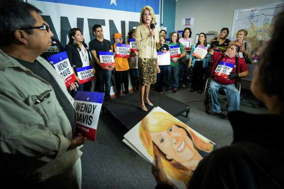 Wendy Davis, Democratic candidate for Texas governor, addresses supporters Friday in San Antonio.