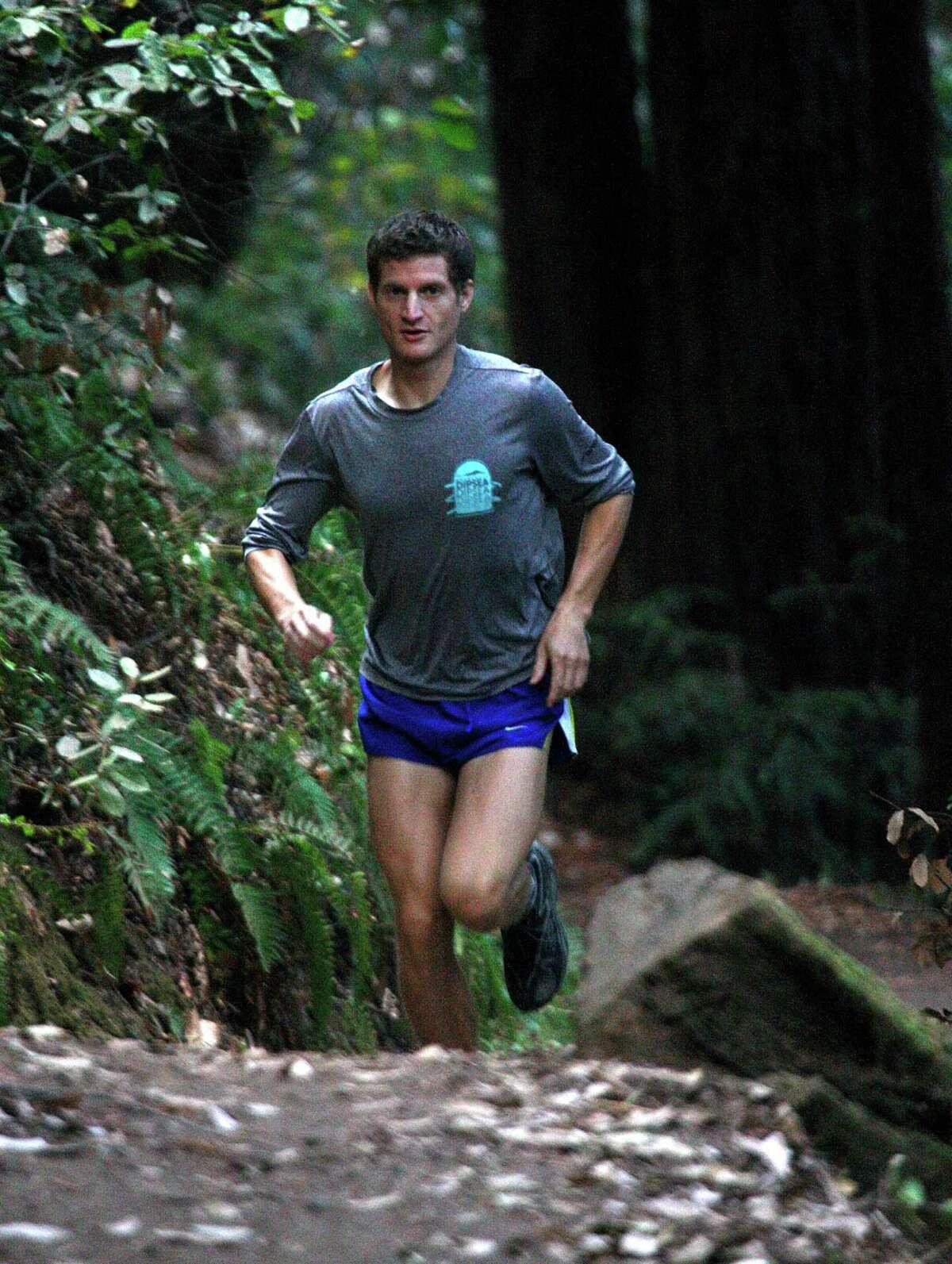 Leor Pantilat, a corporate lawyer in Palo Alto, runs in Woodside's Huddart Park, a favorite trail near his San Carlos home.