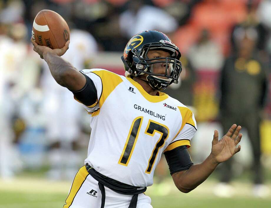 Grambling State Tigers quarterback Johnathan Williams (17) throws against Texas Southern Tigers in the fist half on November 1, 2014 at BBVA Stadium in Houston, TX. Photo: Thomas B. Shea, For The Chronicle / © 2014 Thomas B. Shea