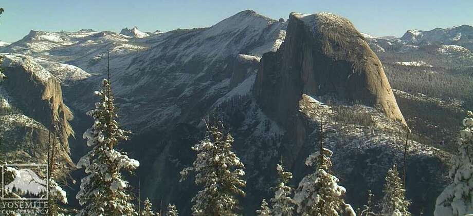 On Sunday morning, skies were blue but there was snow on Half Dome and points above 8,000 feet at Yosemite National Park. where some roads were closed. The scene Sunday morning, November 2, across high country at Yosemite National Park after a foot of snow fell above 8,000-foot level Photo: Yosemite Conservancy / Yosemite Conservancy / ONLINE_YES
