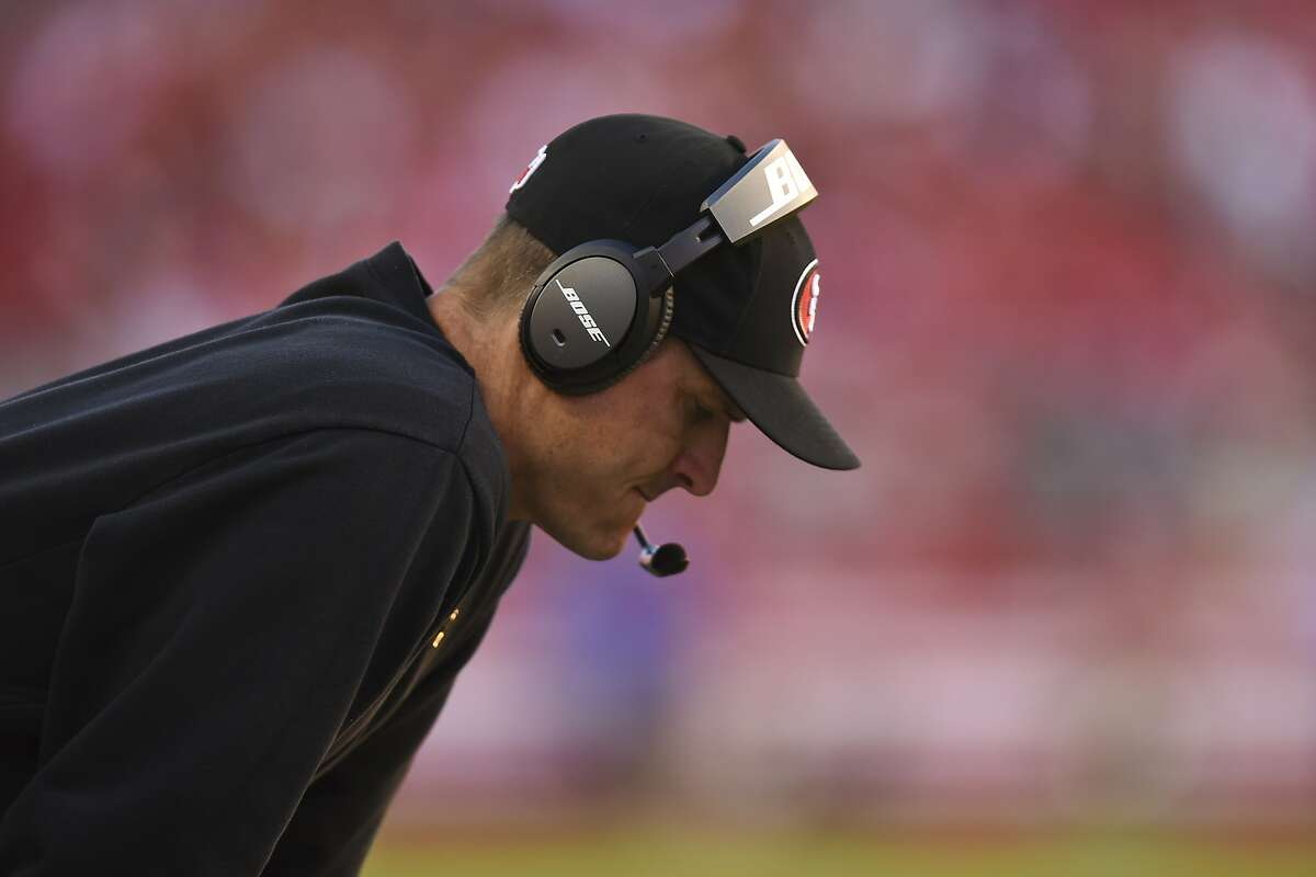 SANTA CLARA, CA - NOVEMBER 02: Head coach Jim Harbaugh of the San Francisco 49ers on the sidelines against the St. Louis Rams during the fourth quarter at Levi's Stadium on November 2, 2014 in Santa Clara, California. The St. Louis Rams defeated the San Francisco 49ers 13-10. (Photo by Thearon W. Henderson/Getty Images)
