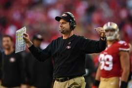 SANTA CLARA, CA - NOVEMBER 02: Head coach Jim Harbaugh of the San Francisco 49ers reacts after a fumble at the goal line against the St. Louis Rams during the fourth quarter at Levi's Stadium on November 2, 2014 in Santa Clara, California.  The St. Louis Rams defeated the San Francisco 49ers 13-10.  (Photo by Thearon W. Henderson/Getty Images)
