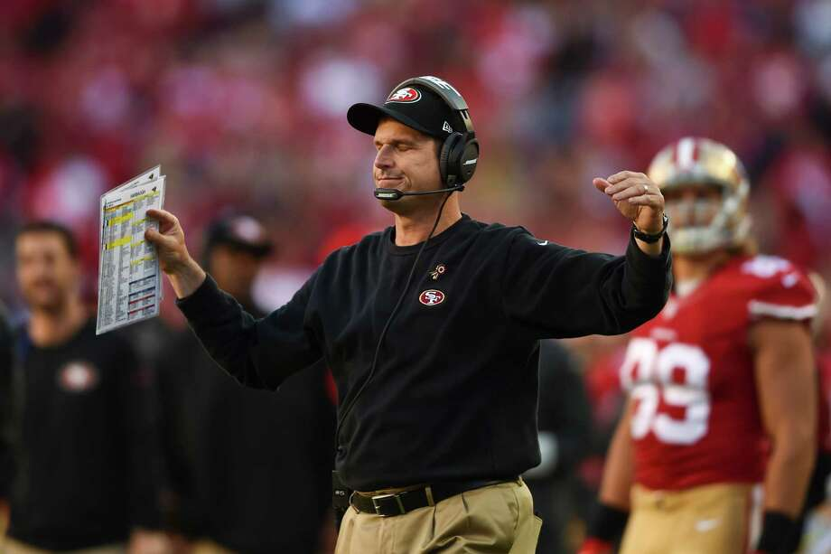 SANTA CLARA, CA - NOVEMBER 02: Head coach Jim Harbaugh of the San Francisco 49ers reacts after a fumble at the goal line against the St. Louis Rams during the fourth quarter at Levi's Stadium on November 2, 2014 in Santa Clara, California.  The St. Louis Rams defeated the San Francisco 49ers 13-10.  (Photo by Thearon W. Henderson/Getty Images) Photo: Thearon W. Henderson / Getty Images / 2014 Getty Images