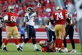 St. Louis Rams' Aaron Donald celebrates after sacking San Francisco 49ers' Colin Kaepernick in 3rd quarter of Rams' 13-10 win during NFL game at Levi's Stadium in Santa Clara, Calif., on Sunday, November 2, 2014.