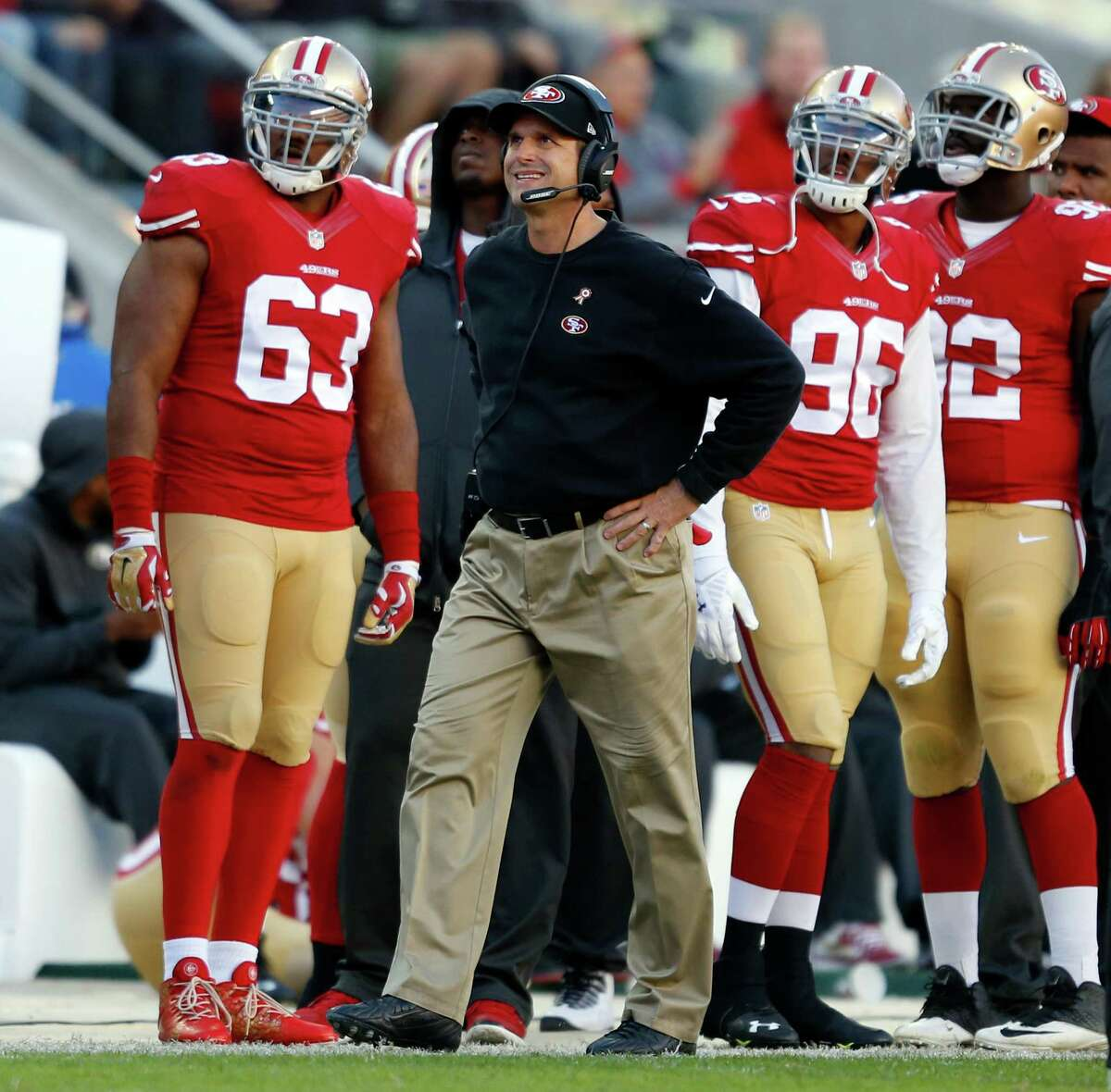 (Bay Area) Jan. 15: 49ers coach Jim Harbaugh gets blasted for conduct unbecoming on the field and replaces his frowsy $8 pleated khakis from Walmart with $23 flat-front pants by Dickies.