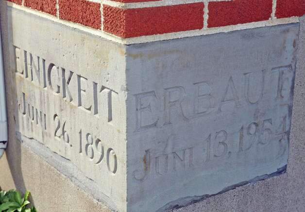 The cornerstone of Germania Hall at 309 Third Ave on Friday Oct. 31, 2014 in Troy, N.Y. (Michael P. Farrell/Times Union) Photo: Michael P. Farrell / 00029273A