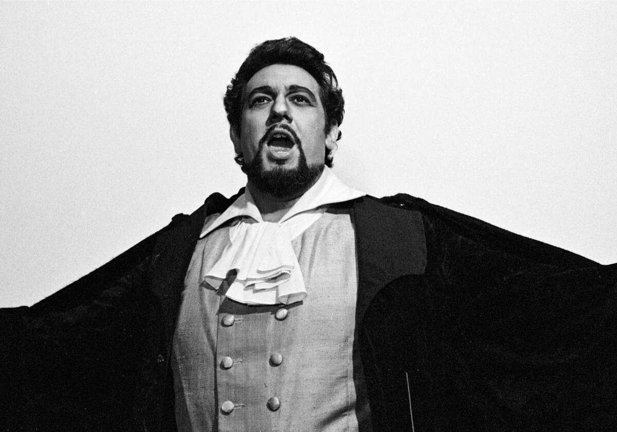 Spanish tenor Placido Domingo photographed backstage at the Metropolitan Opera in New York, 1977.