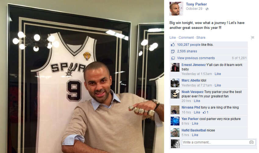 Tony Parker poses with his championship rings in this photo posted on Facebook.