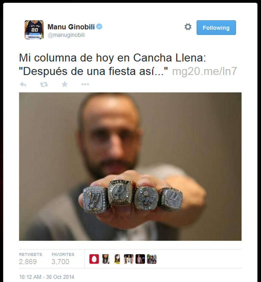 Manu Ginobili shared a photo of his rings on Twitter.